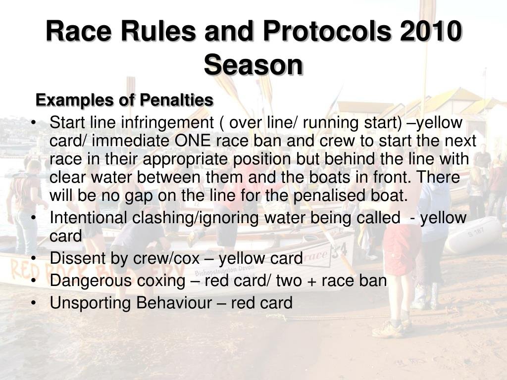 Race Rules and Protocols 2010 Season