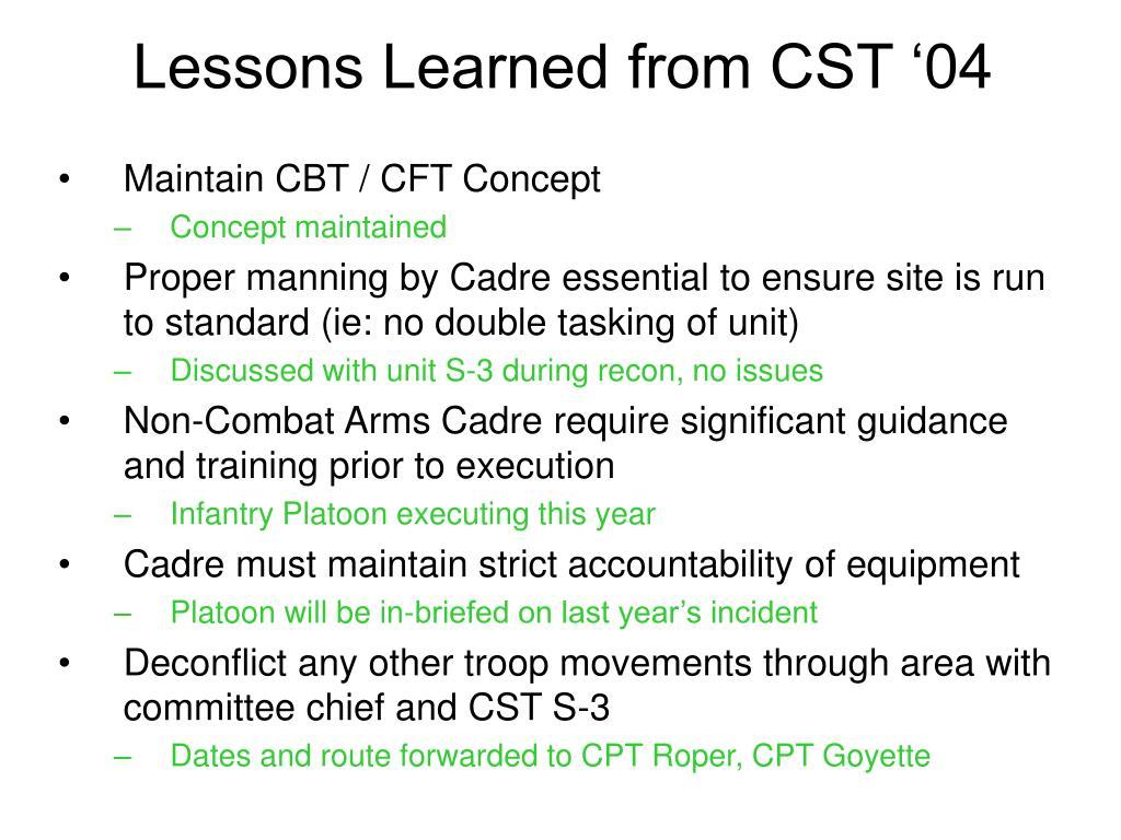 Maintain CBT / CFT Concept