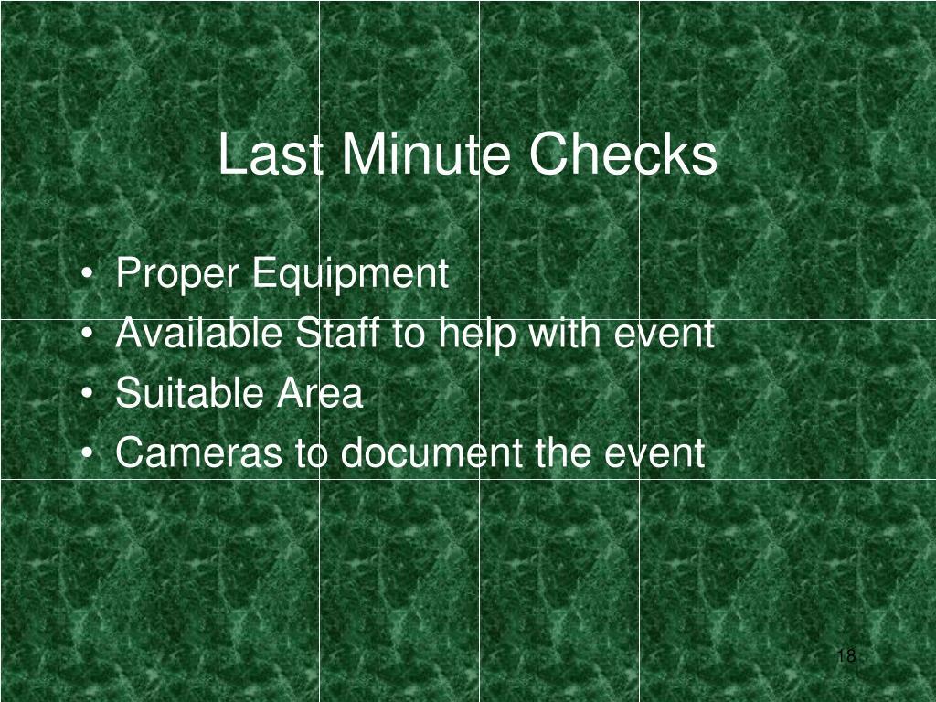 Last Minute Checks