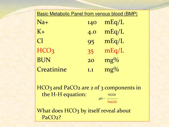 Basic Metabolic Panel from venous blood (BMP)