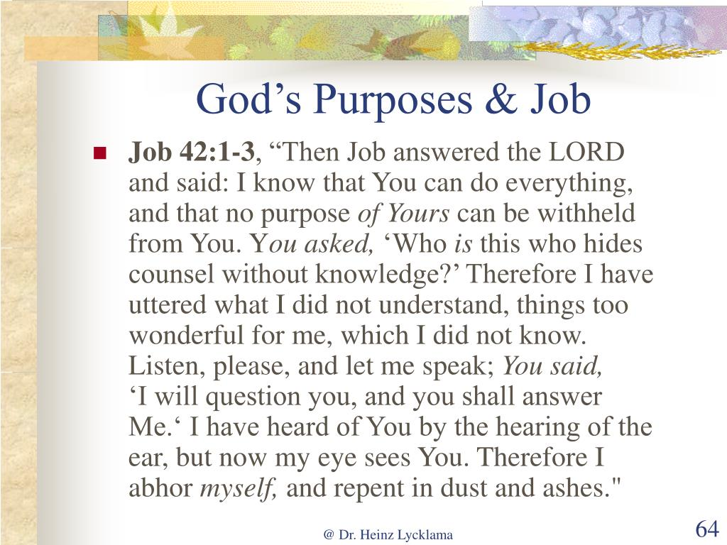 God's Purposes & Job