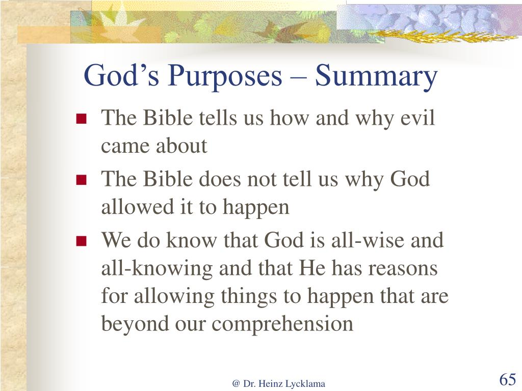 God's Purposes – Summary