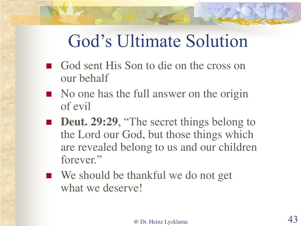 God's Ultimate Solution