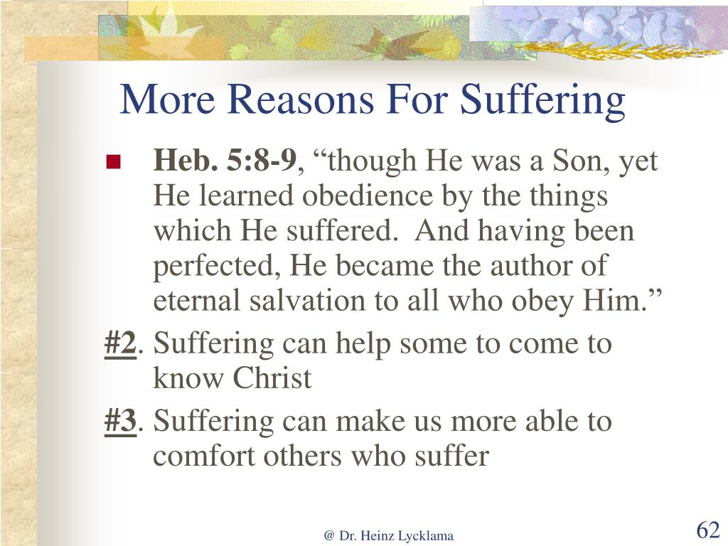 More Reasons For Suffering