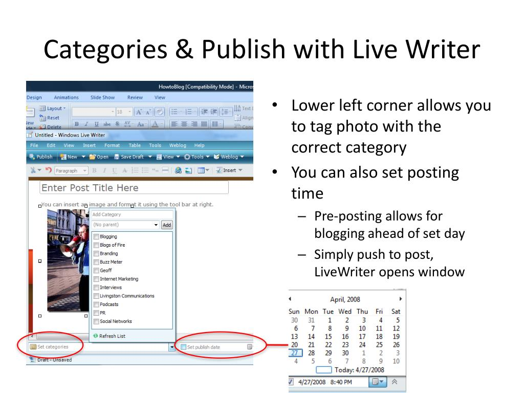 Categories & Publish with Live Writer