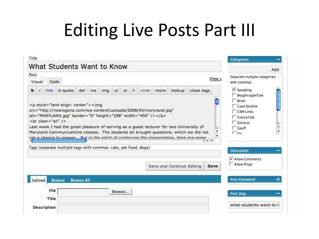 Editing Live Posts Part III
