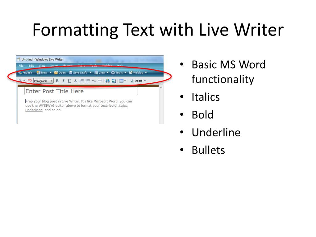 Formatting Text with Live Writer