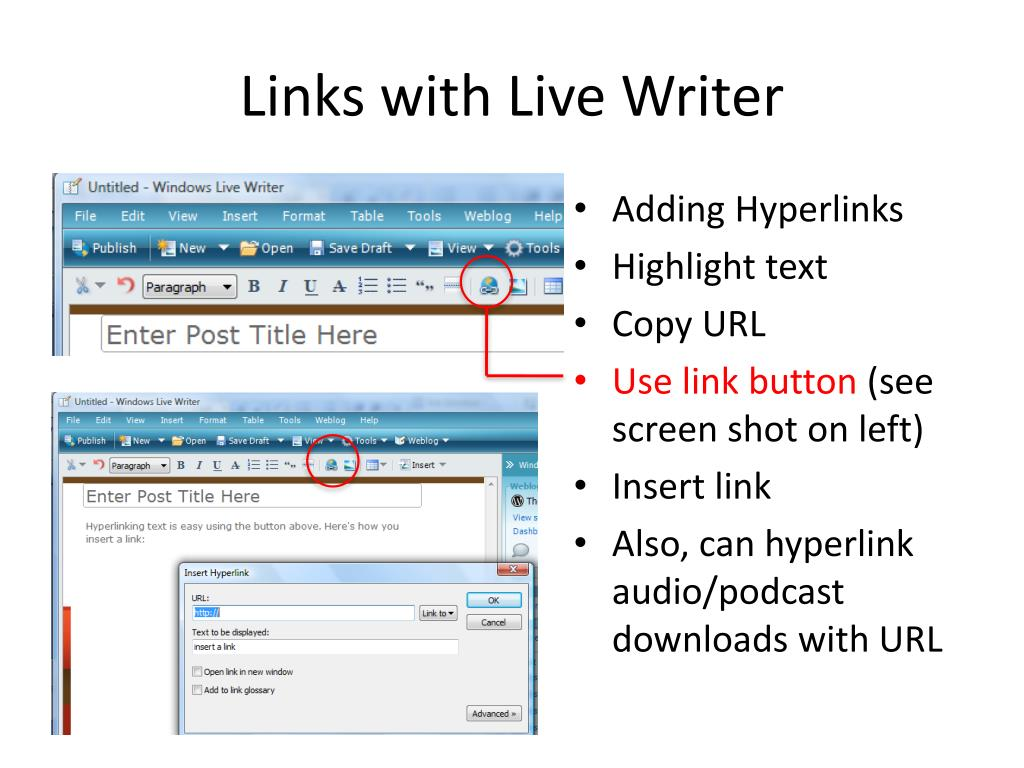 Links with Live Writer
