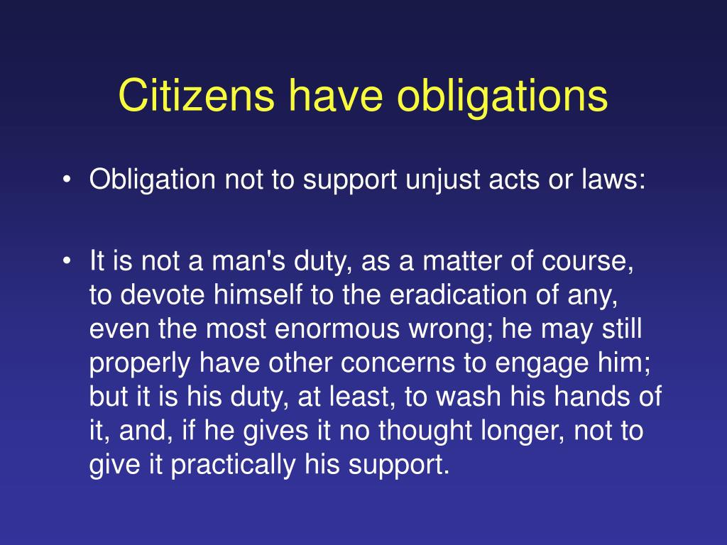 Citizens have obligations