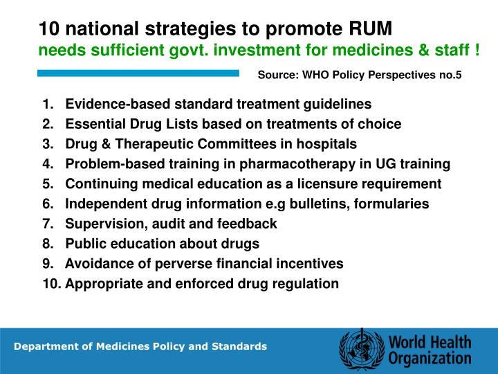 10 national strategies to promote RUM