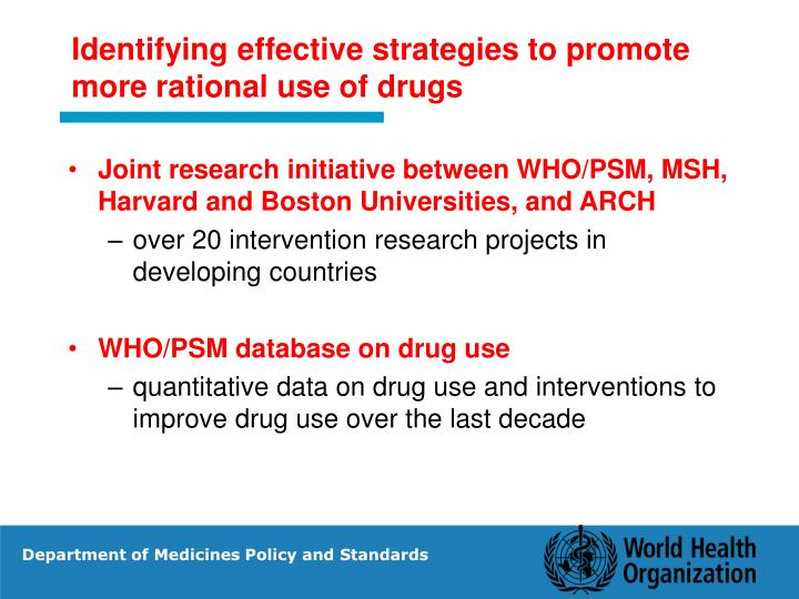 Identifying effective strategies to promote more rational use of drugs