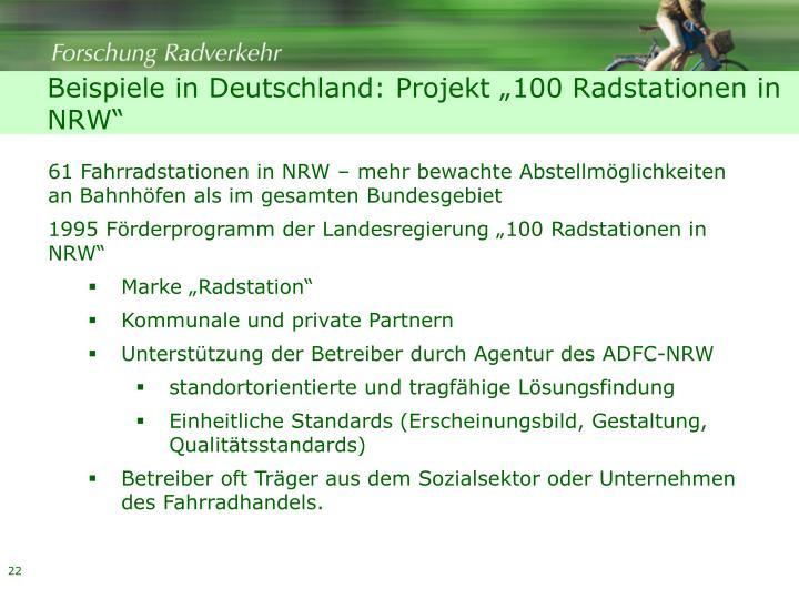 """Beispiele in Deutschland: Projekt """"100 Radstationen in NRW"""""""