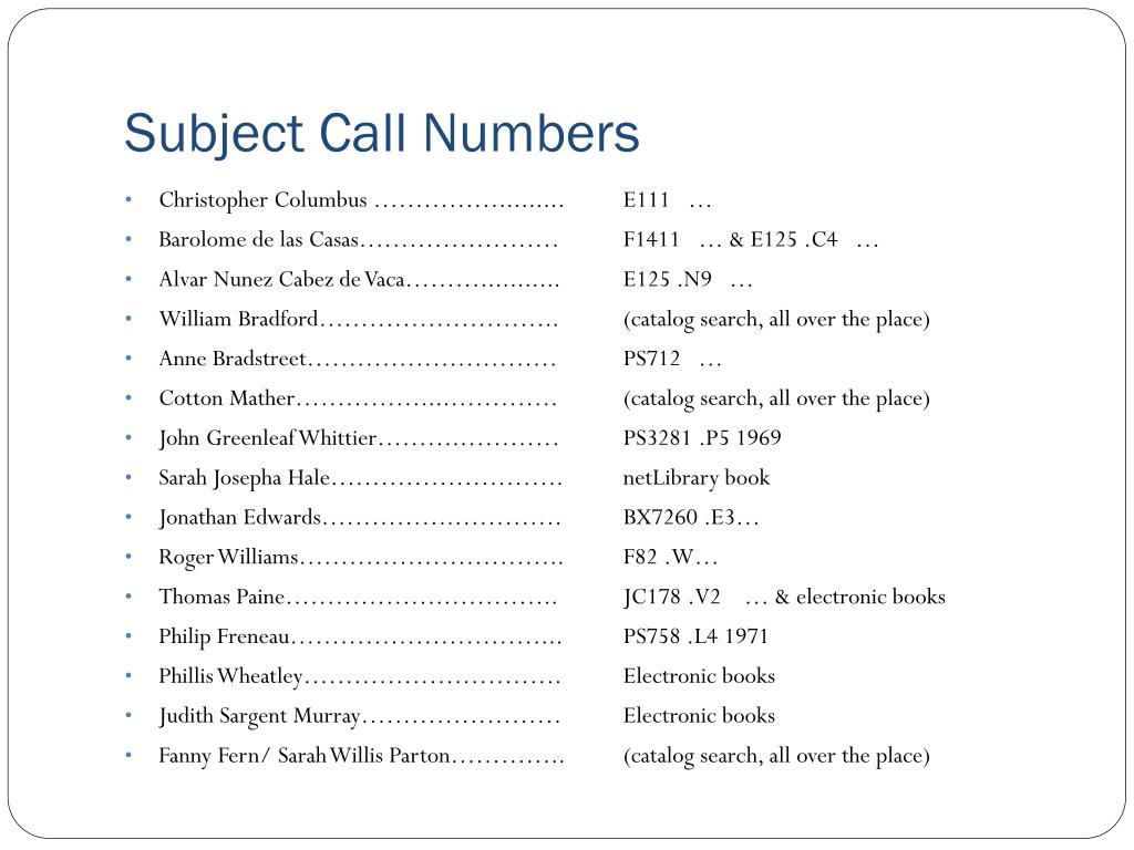 Subject Call Numbers