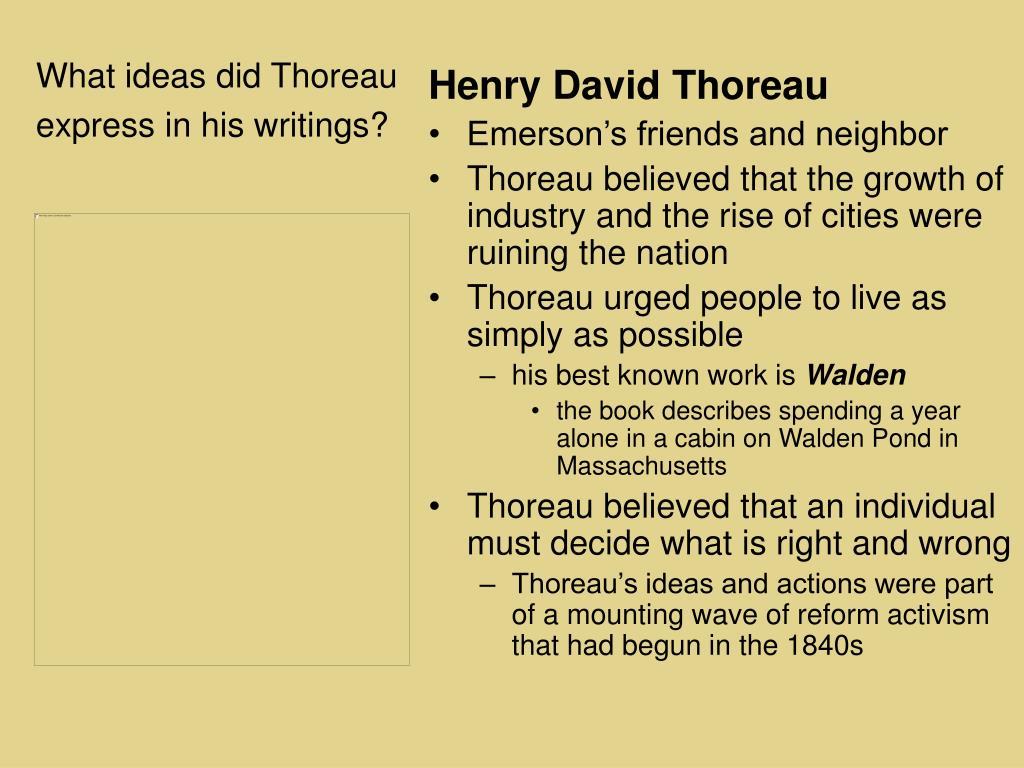 What ideas did Thoreau