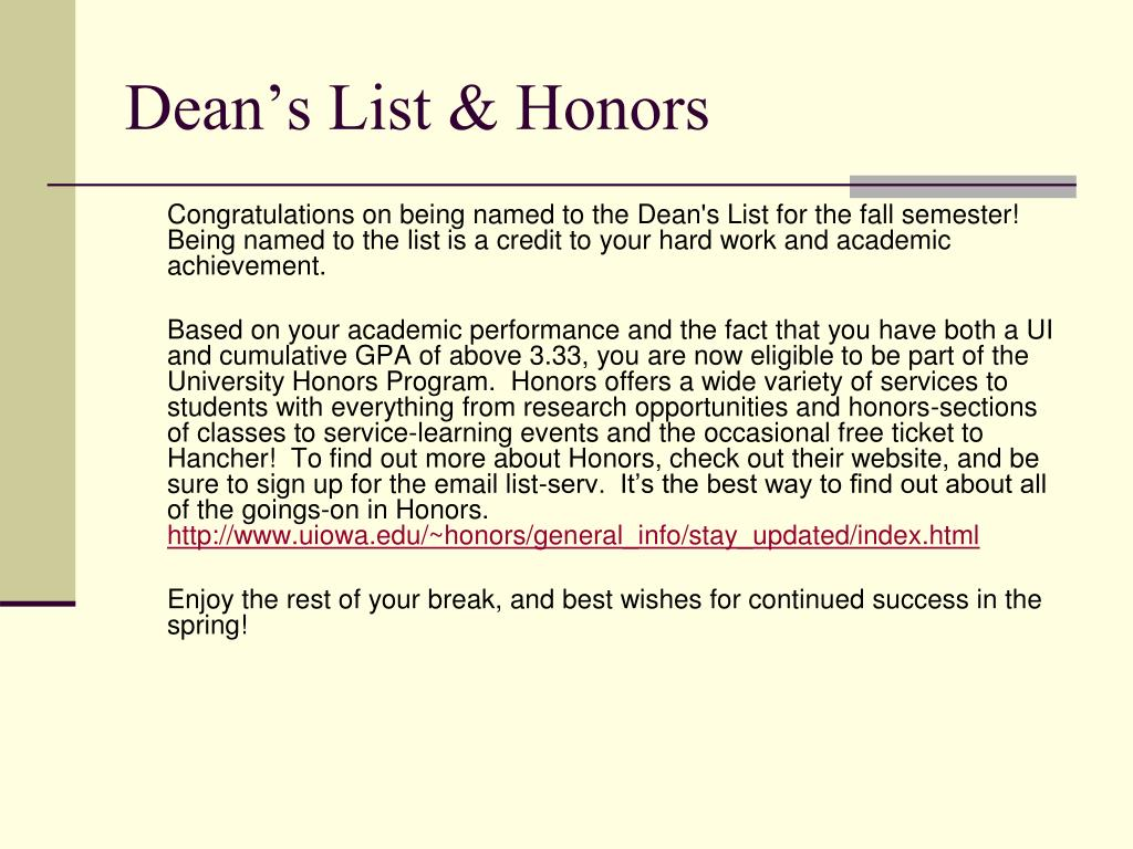 Dean's List & Honors