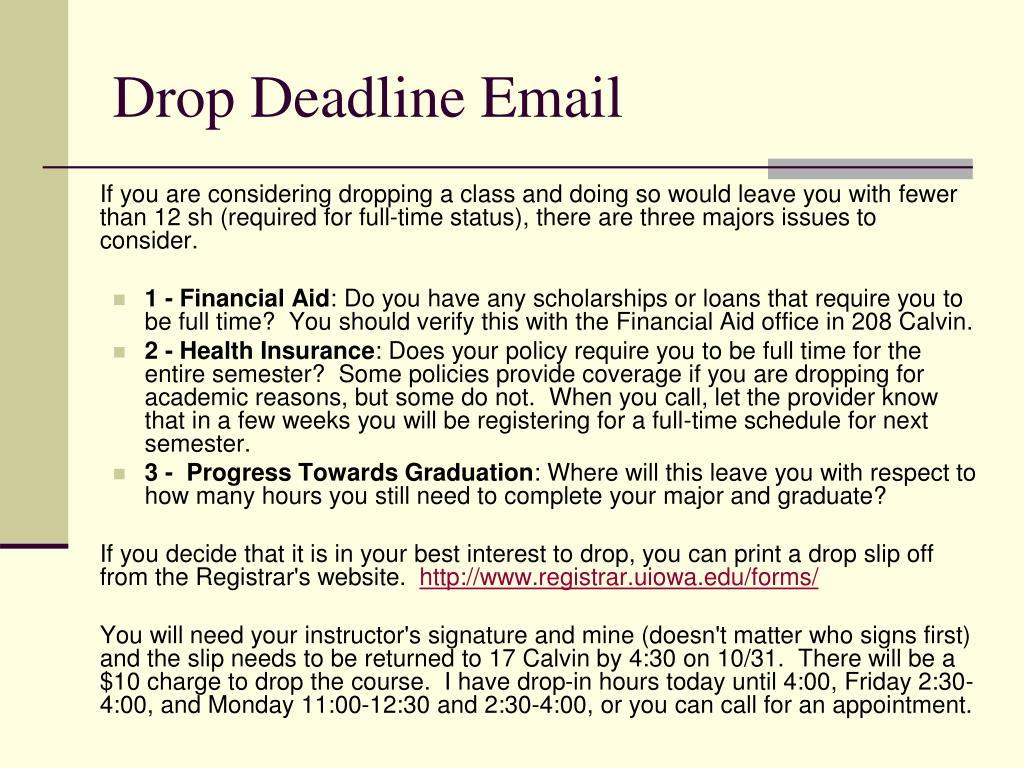 Drop Deadline Email