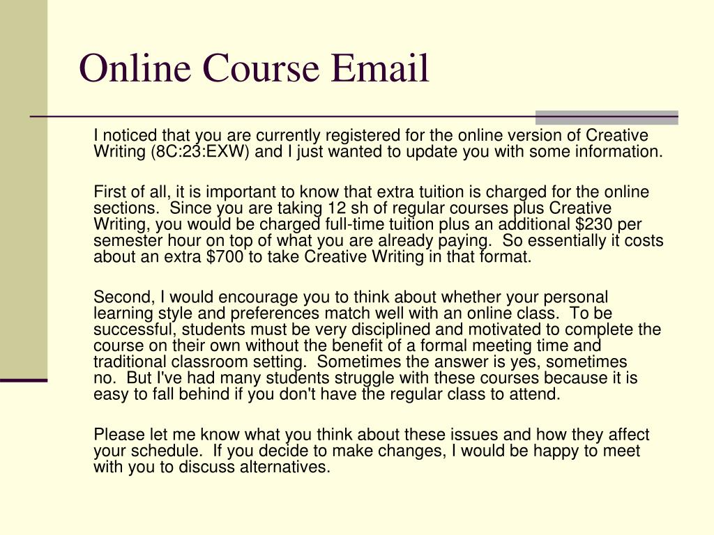Online Course Email