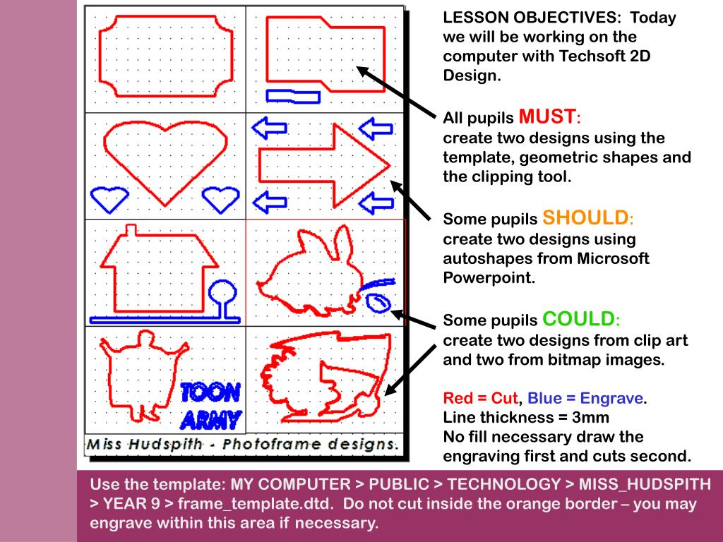 LESSON OBJECTIVES:  Today we will be working on the computer with Techsoft 2D Design.
