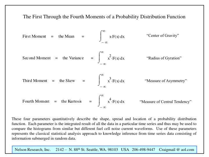 The First Through the Fourth Moments of a Probability Distribution Function