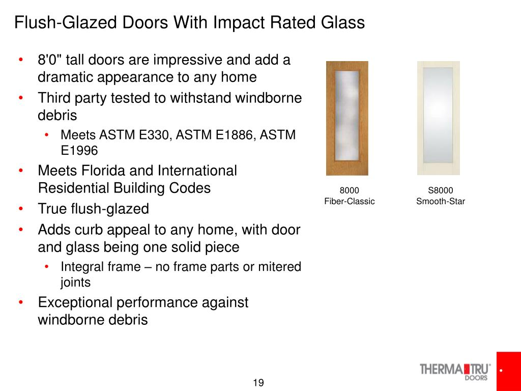 Flush-Glazed Doors With Impact Rated Glass