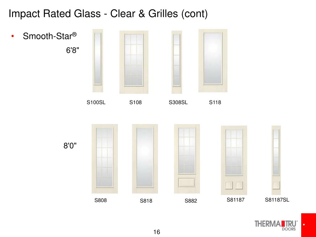 Impact Rated Glass - Clear & Grilles (cont)