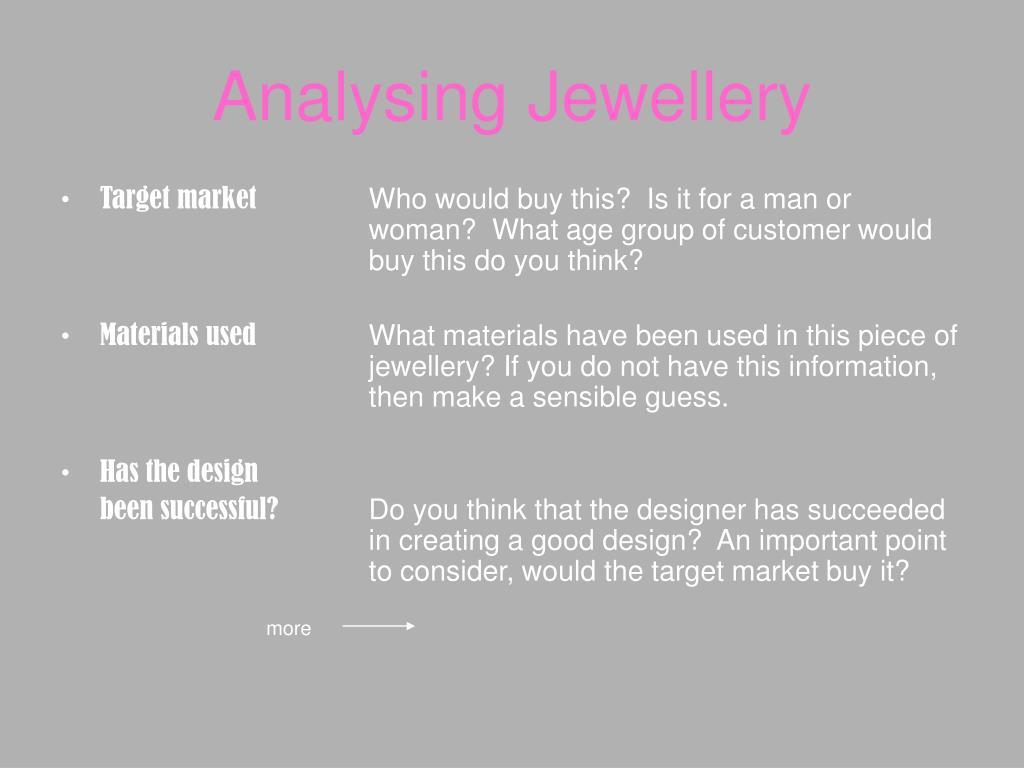 Analysing Jewellery