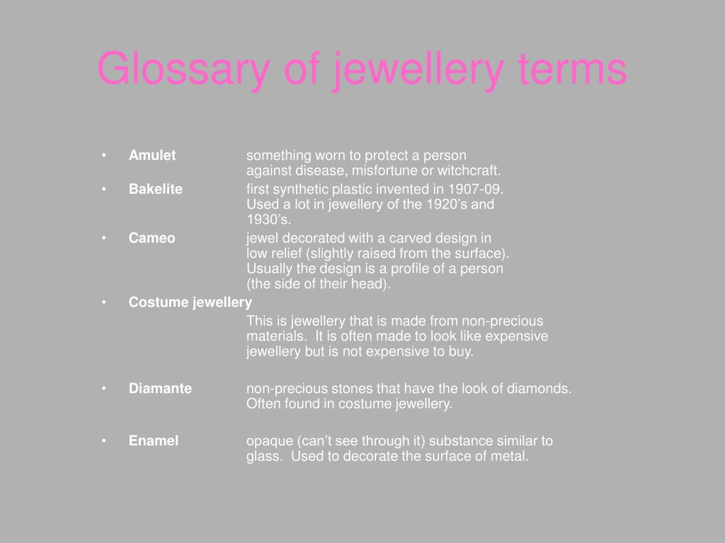 Glossary of jewellery terms