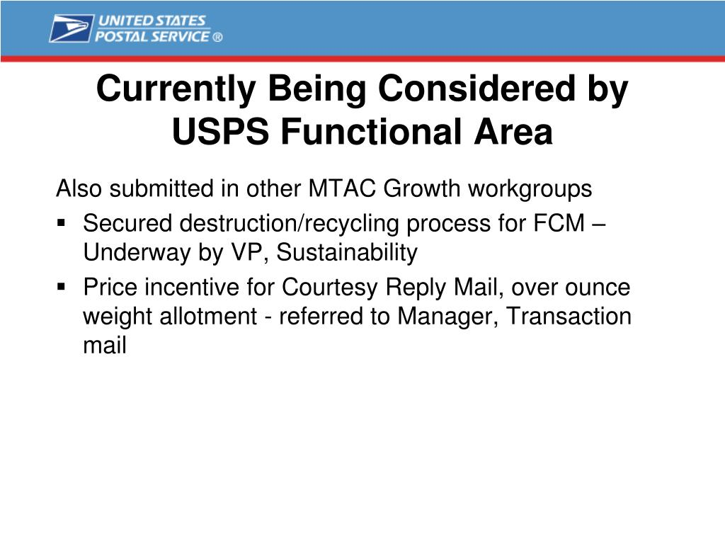 Currently Being Considered by USPS Functional Area