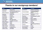 thanks to our workgroup members
