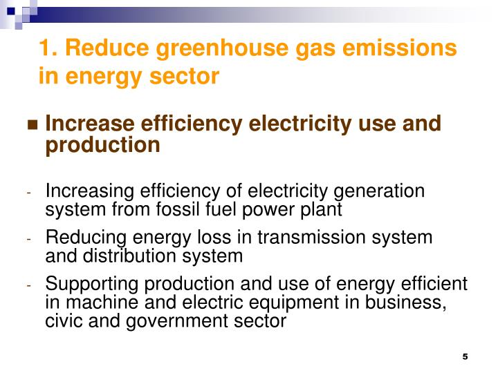 1. Reduce greenhouse gas emissions in energy sector