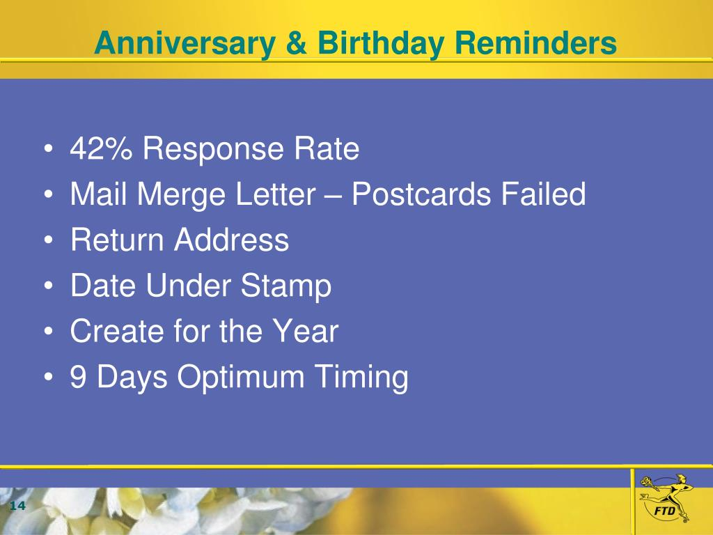 Anniversary & Birthday Reminders