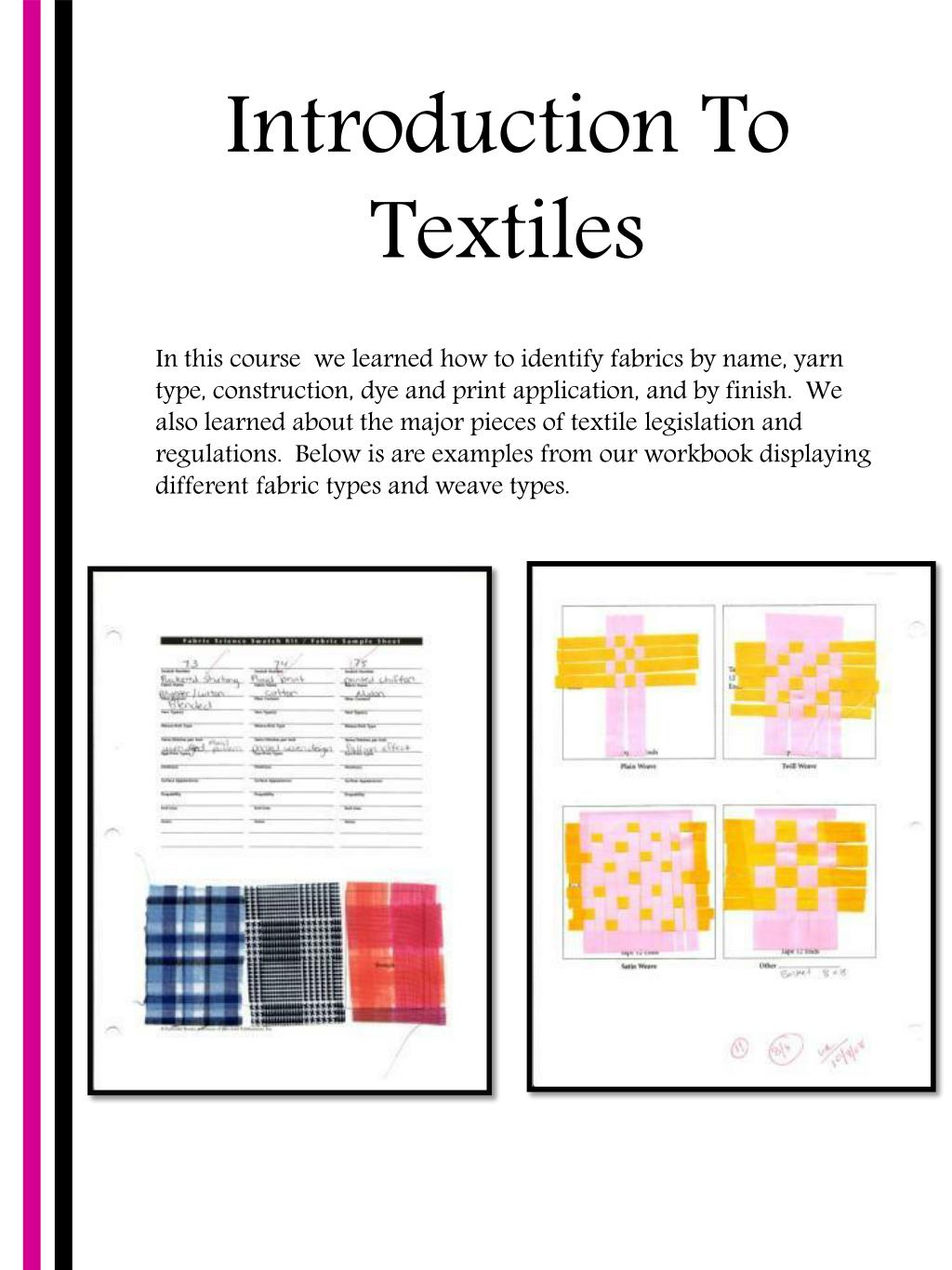 Introduction To Textiles