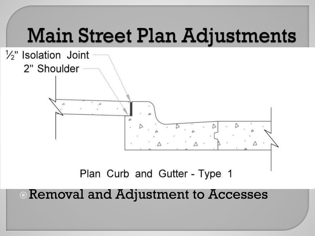 Main Street Plan Adjustments