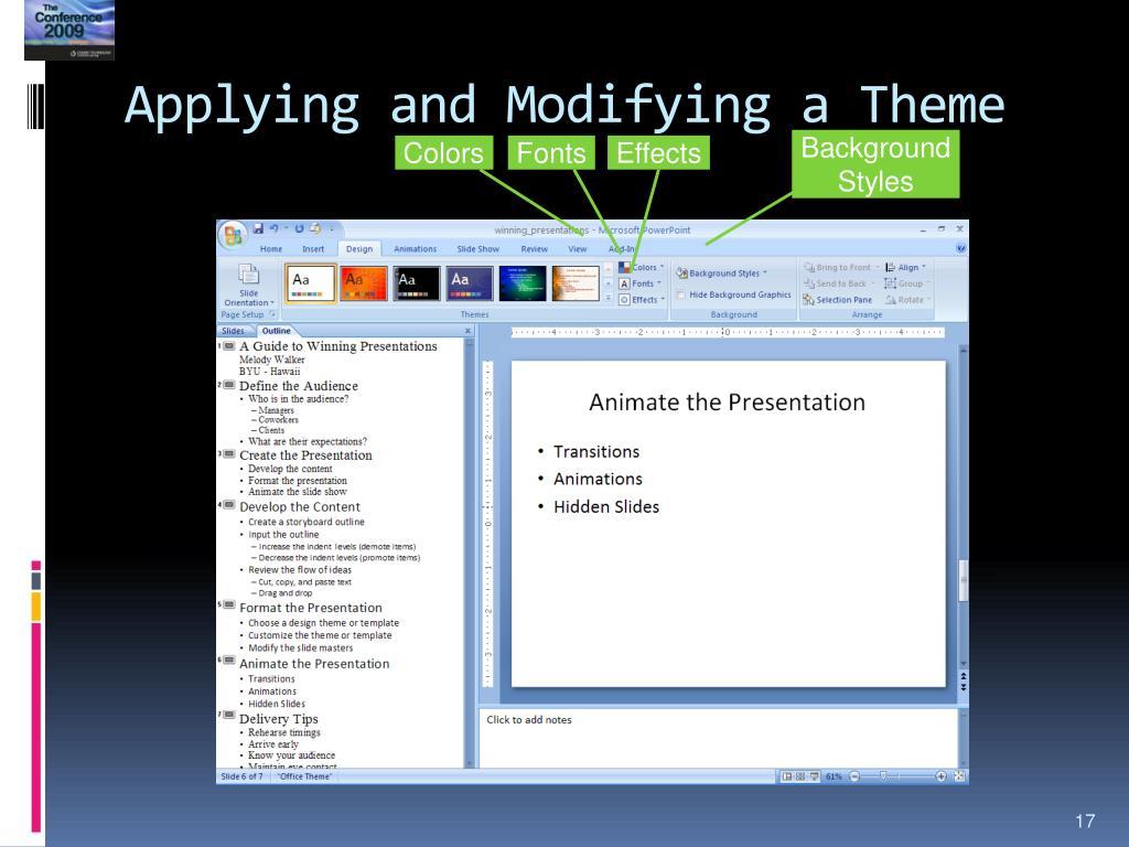 Applying and Modifying a Theme