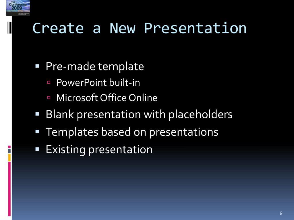 Create a New Presentation