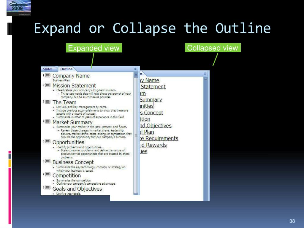 Expand or Collapse the Outline