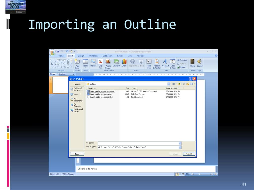 Importing an Outline