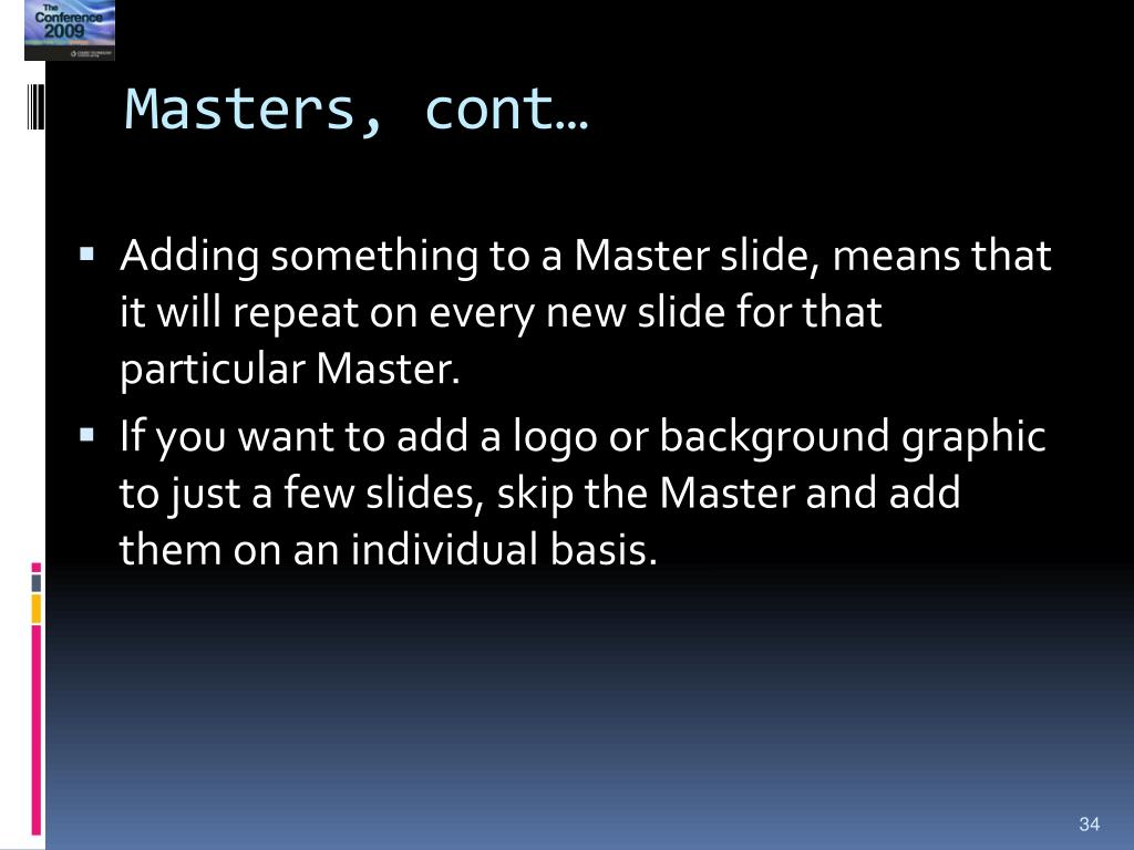 Masters, cont…