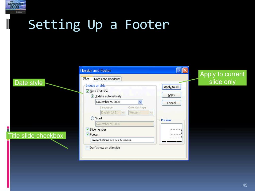 Setting Up a Footer