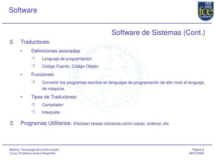 Software de Sistemas (Cont.)
