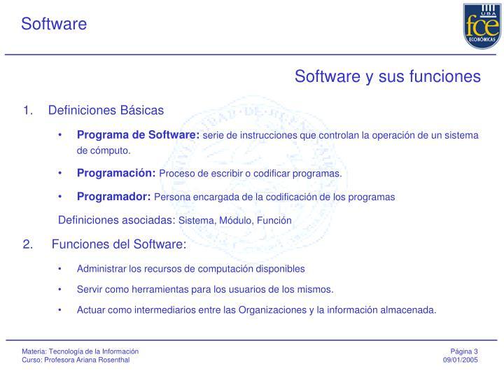 Software y sus funciones