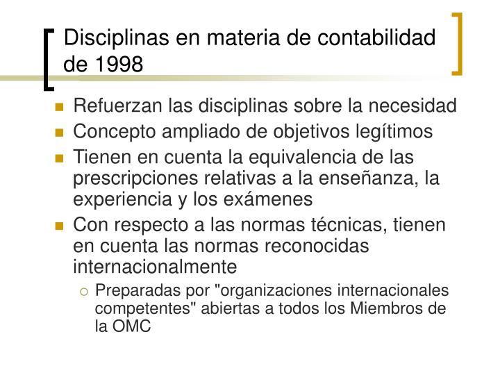 Disciplinas en materia de contabilidad