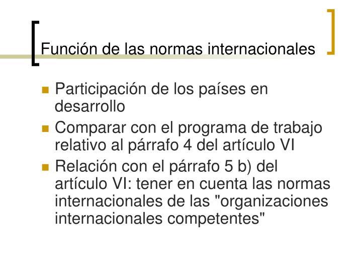 Función de las normas internacionales
