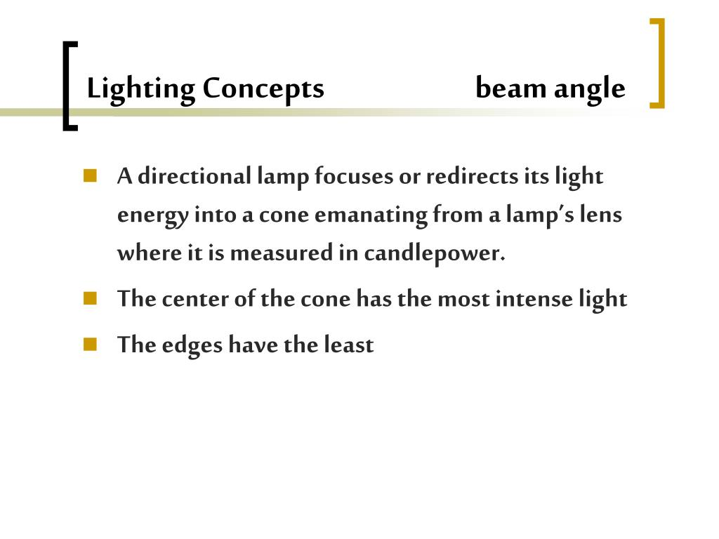 Lighting Concepts                         beam angle