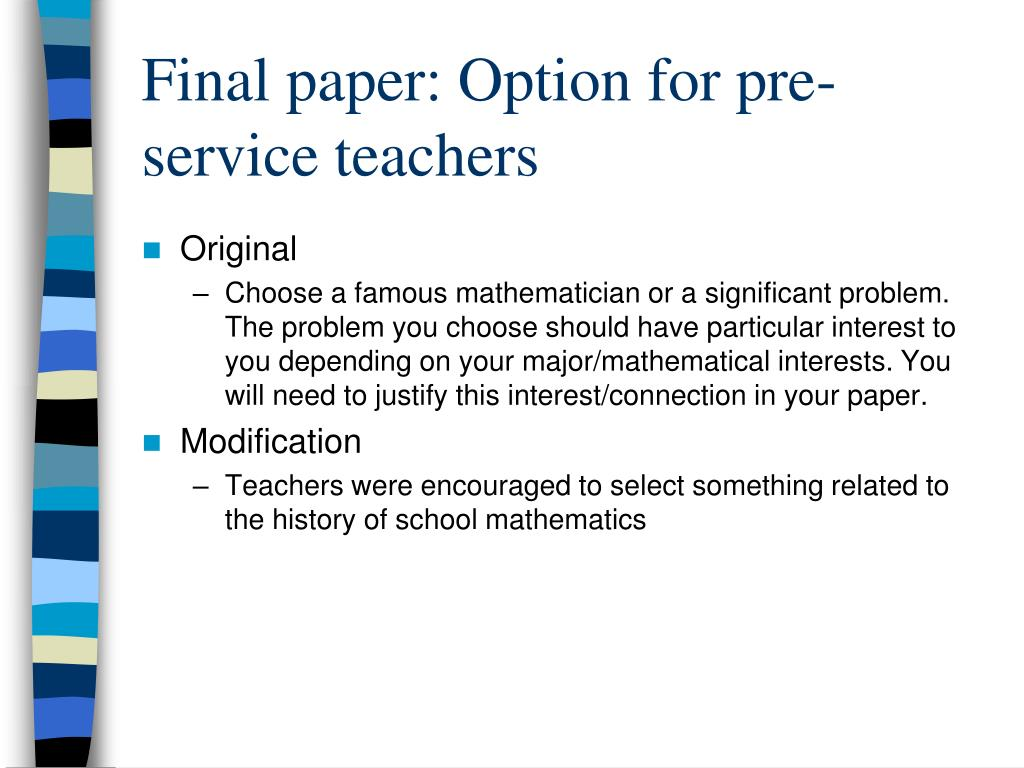 Final paper: Option for pre-service teachers