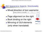 bidi appearance aspects directionality