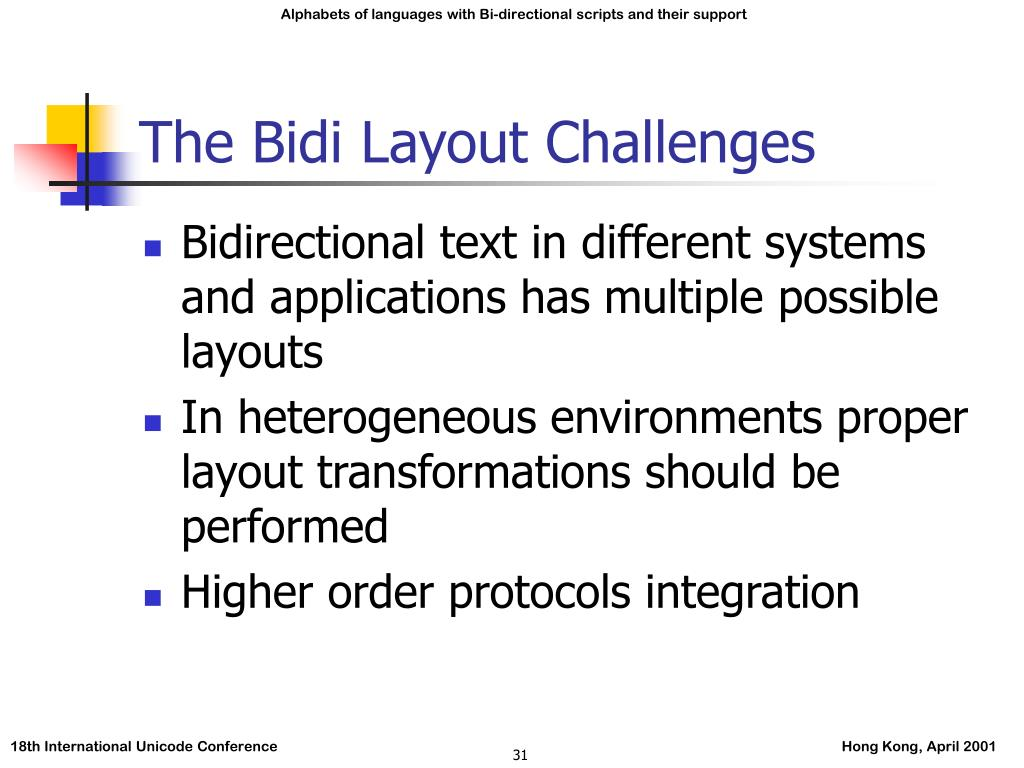 The Bidi Layout Challenges