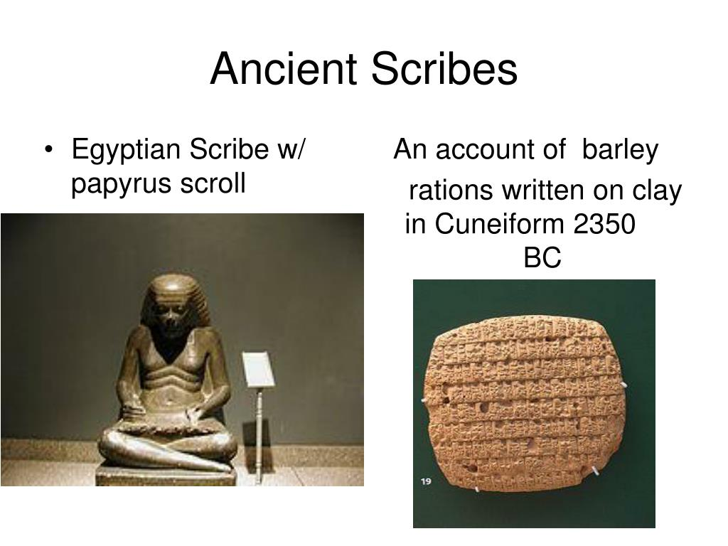 Egyptian Scribe w/ papyrus scroll