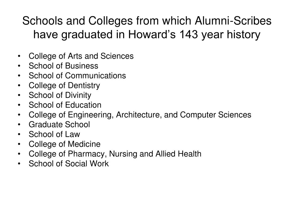 Schools and Colleges from which Alumni-Scribes have graduated in Howard's 143 year history