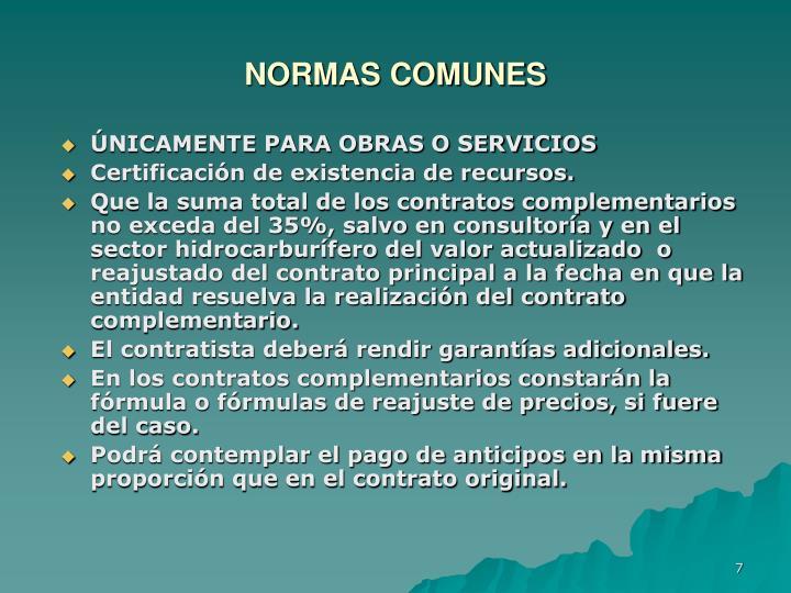 NORMAS COMUNES